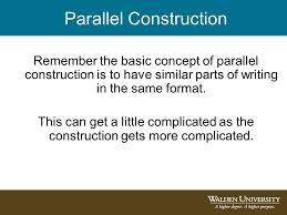 Parallel construction advice