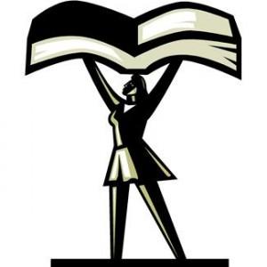 Women writer upholding book