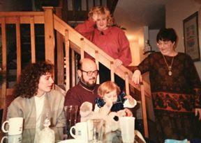 Dad and Sarah at grandparents BD 1991