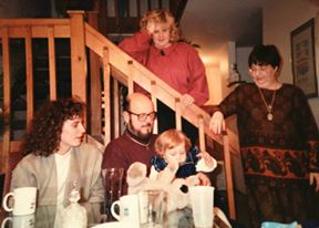 Dad and Sarah at grandparents BD 1991